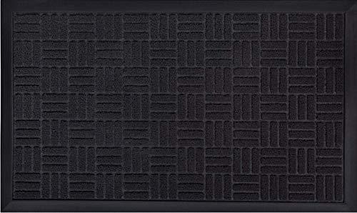 Gorilla Grip Original Durable Natural Rubber Door Mat, 29x17, Heavy Duty Doormat, Indoor Outdoor, Waterproof, Easy Clean, Low-Profile Mats for Entry, Garage, Patio, High Traffic Areas, Black Maze