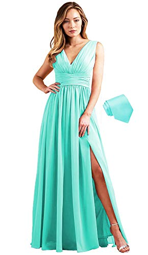 MARSEN Long Bridesmaid Dresses for Women Chiffon Empire Waist Formal Floor Length Open Back A Line Prom Dress Tiffany Size 16