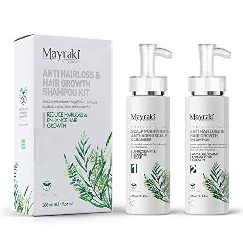 Mayraki Hair Growth   Anti Hairloss Shampoo Kit (300 ml/10.14 fl.oz x2), Hair Thickening Shampoo for Fuller & Thicker Hair, Volumizing Shampoo for Color Treated Hair, Shampoo for Hair Growth for Women