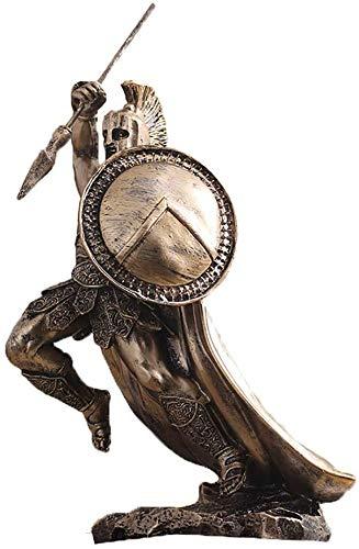 GJXY Bronze-Finish Retro Held Skulpturen Dekor, griechische Krieger Spartas Statuen mit Speer und Schild, König Leonidas Spartan Sammelfiguren,1