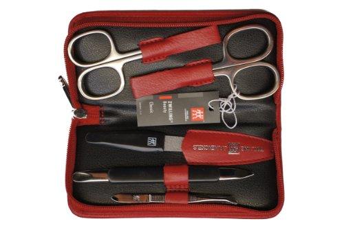 Zwilling 97247-035 Manicure-Etui (5-teilig), Leder-Reißverschluss-Etui (rot), Instrumente vernickelt