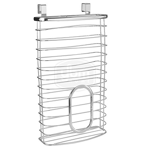 YBM Home Plastic Bags Container and Dispenser for Grocery Bags, Metal Over the Cabinet Door Storage Bags Holder Organizer Holds Up to 50 Plastic Shopping Bags, Silver