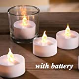 Tecwizz - LED Tea Light Candles, Real Flickering Effect, Battery Operated for Home