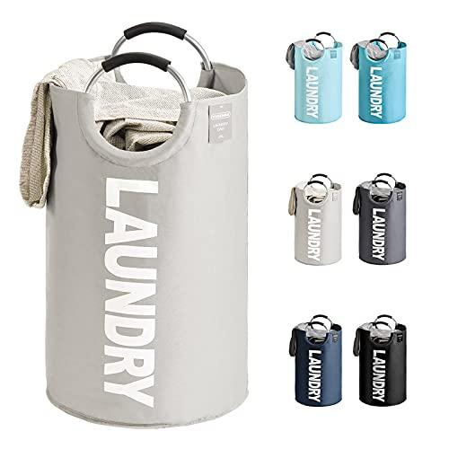 YOUDENOVA - Cesta grande de ropa sucia, de 82 litros, plegable, portátil, de tela, color gris claro