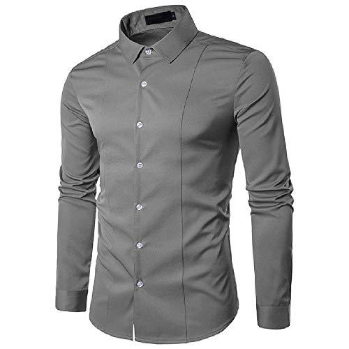 Camisas de hombre estilo casual manga larga sólida camisa masculina