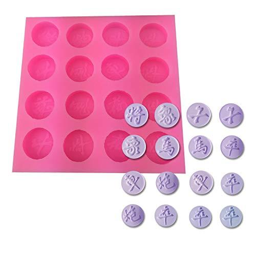 sina Chinesische Schach Silikonform-Chinesische Schach Schokolade Form-Chinesische Schachkuchen Backform-2Stück