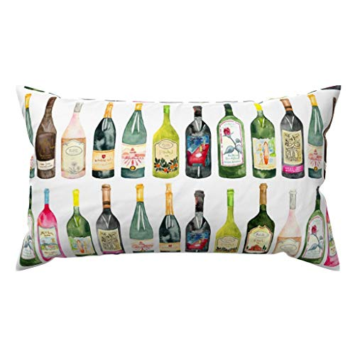Traasd11an Fundas de almohada lumbar, botellas de acuarela, decoración para sofá, dormitorio, coche, 30 x 50 cm