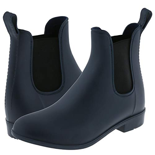 Matte Navy Opaque with Elastic Gores and Back Pull Loop Chelsea Body Jelly Rain Boot Combo 9
