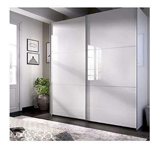 DECOR NATUR-Armario DE Puertas CORREDERAS Modelo Slide Color Blanco Brillo-Medidas: Ancho: 180 cm Alto: 204 cm Fondo: 65 cm