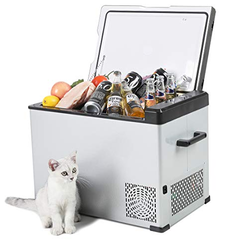 Portable Refrigerator, 42 Quart Car Refrigerator freezer with Compressor(-4°F to 68°F), DC 12/24V, AC 110-250V Input Car Fridge for Car,Truck, RV, Boat,Camping, Picnic, BBQ, Patio,Home