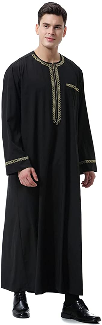 Muslim Islamic Men Print Zipper Kimono Long Robe Saudi Caftan
