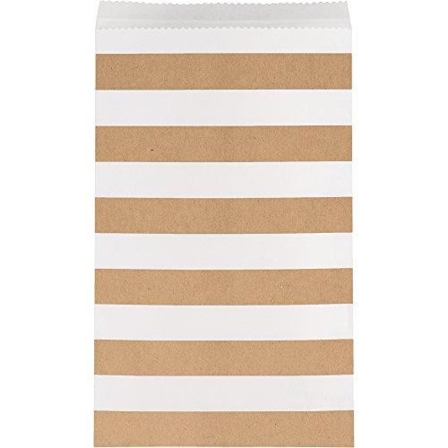 15 sachets en papier à rayures beige