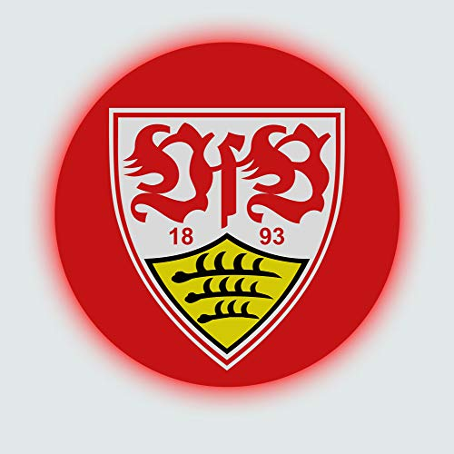 VfB Stuttgart Wandcover mit LED Beleuchtung - Fußballmannschafts Wappen für echte Fans - Fanartikel Bundesliga Sportverein Fußball Wandbild Weiß Rot 1893