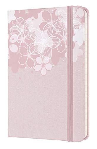 Moleskine - Notebook in Edizione Limitata, Taccuino Sakura Con Grafiche a Tema, Layout a Righe e Copertina Rigida in Tessuto, Formato Pocket 9 x 14 cm, Colore Rosa Scuro, 192 Pagine