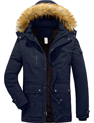 YXP Men's Winter Warm Thicken Coat Hooded Jacket Fleece Lined Parka (Navy,XXL-Large)