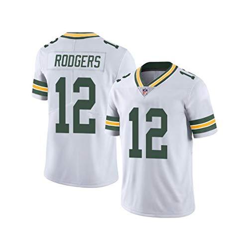 NFL Herren Fußball Trikot Green Bay Packers # 12 Rodgers Fan Edition Jersey Besticktes T-Shirt Kurzarm Sport Top Sportswear