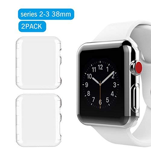 Ailun Screen Protector Case Compatible Apple Watch 38mm 2Pack iWatch Case Built in PC Screen Protector All Around Protective Case Clear Ultra Thin Cover for Apple Watch Series 2 and Series 3