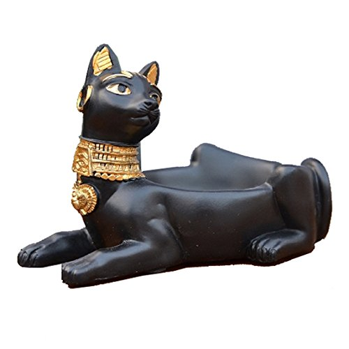 C&S Cigarette Ashtray Ancient Egyptian Bastet Cat Goddess Statue, Ash Holder for Smokers, Tabletop Smoking Ash Tray for Outdoor Indoor Home Office Bar Decor, Creative Gift (Black)