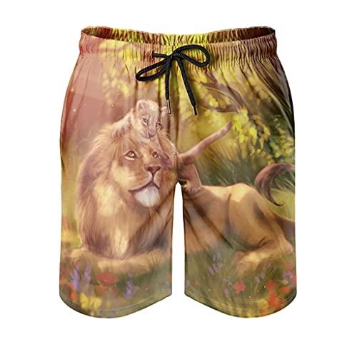 Dessionop Bañador para hombre, diseño abstracto de león y peluche, con impresión solar, con forro de bolsillo, Hombre, Blanco, small