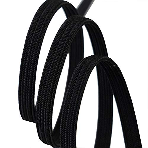 Flat Elastic Band Rubber Strap Rope Ribbon Cloth Sewing Accessory (Black, Width 3mm-Length 33Yard)