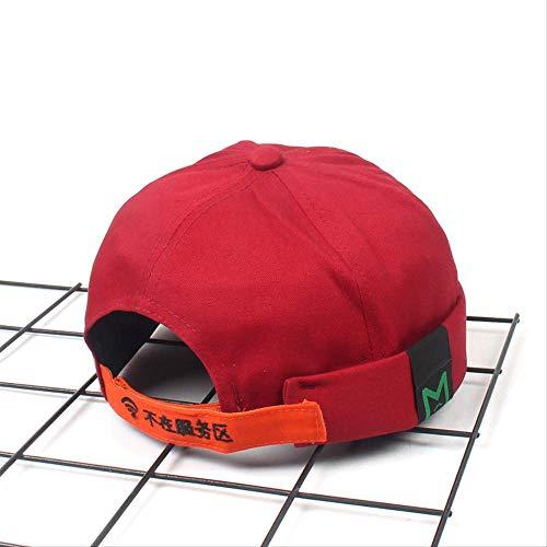 QQYZ Bordado Propietario Sombrero Pícaro Sombrero Sin Espías Primavera Y Verano Pareja Guaspi Sombrero Marea Ajustable Licor Rojo