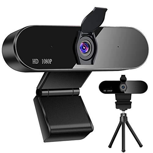 WARMTUYO Webcam PC 1080P con Micrófono, Full HD Web Cámara con Reducción de Ruido,USB Streaming Webcam para Mac Windows Conferencias, Clases Línea, Transmisión Vivo, Chat Juegos Skype FaceTime