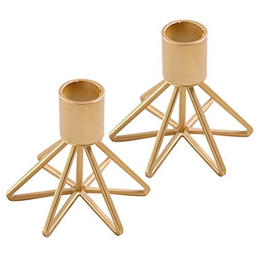 Lurrose 2pcs Iron Art Candlesticks Creative Geometry Candle Holders Table Centerpieces Home