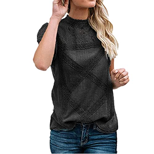 Camisa Mujer Elegante Suelta Cómoda Camisa De Lino De Verano con Detalle De Encaje Camisa De Manga Corta Camisa Retro Minimalista De Color Sólido Vacaciones Camisa De Mujer Sexy A-Black L
