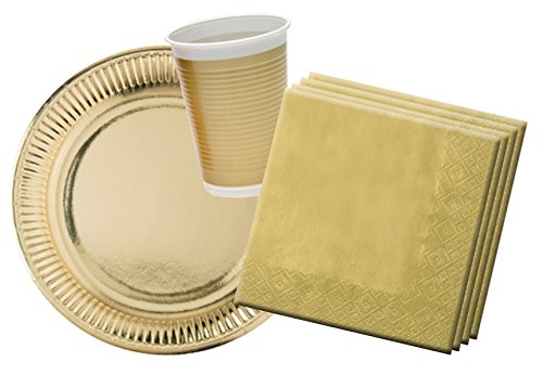 Procos 10117014 - Partyset Gold, 60-teiliges Set, 20 Teller, 20 Becher, 20 Servietten, klassisches Design, Einweggeschirr, Tischdekoration