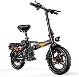 RDJM Bici electrica 14' Bicicleta eléctrica Plegable E-Bici, 400W Aluminio Bicicleta eléctrica, Bicicleta Plegable portátil con Pantalla de visualización electrónica, for Adultos y Adolescentes