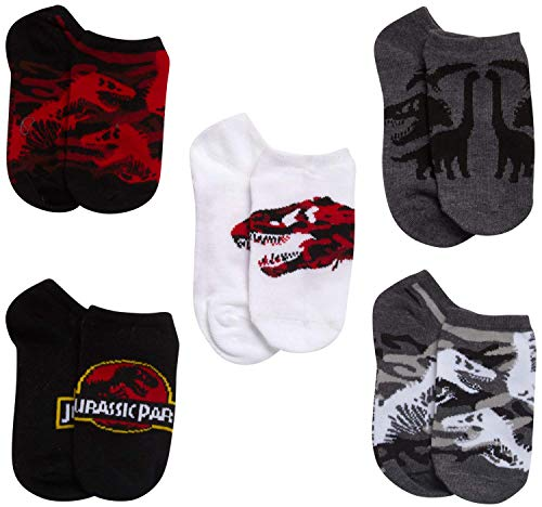 JURASSIC PARK BOYS 5 PACK NO SHOW SOCKS, Size Sock Size 10-13, Assortment