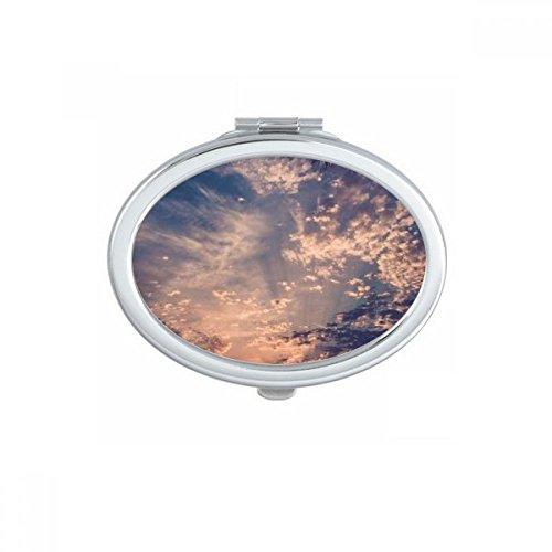 DIYthinker Big Ben Bleu Sky Blanc Nuages Ovale Maquillage Compact Miroir de Poche Portable Mignon Petit Miroirs Main Cadeau Multicolor