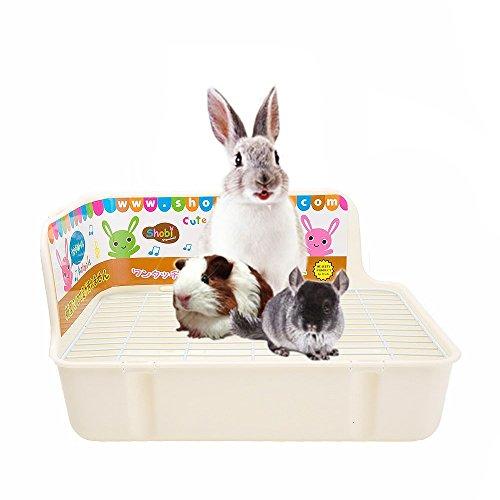 HongYH Pet Kleine Ratte WC, quadratisch Toilettentrainer Eck Betten Katzenklo Box Pet Pfanne für Kleine Animal/Kaninchen/Meerschweinchen/Galesaur/Frettchen, L, beige