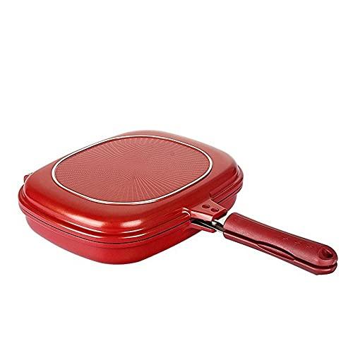 ysgbaba Pan Nonstick Pan Doppelseitige Backpfanne Haushalt Steak Brat Pan Field BBQ Fleischkocher (Color : Red)