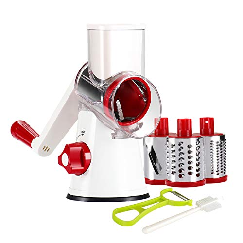 Ourokhome Rotary Cheese Grater Shredder- 3 Drum Bladea Manual Slicer Nut Grinder with Vegetable Peeler and Cleaning Brush (White red)