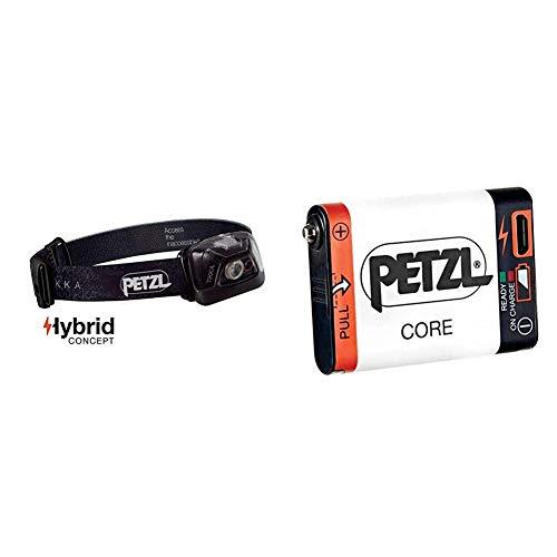 Petzl Tikka Linterna Frontal, Unisex Adulto, Negro, Talla Única + E99ACA, Batería Recargable Compatible con Linterna Hybird Petzl, Blanco