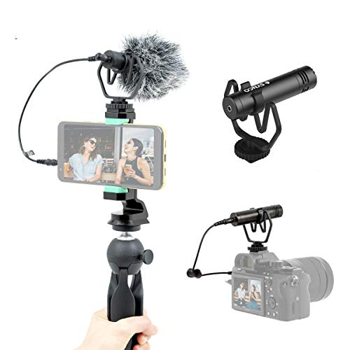 SYNCO Richtmikrofon Kamera Mikrofon mit Tischstativ Handyhalterung, Shotgun DSLR Video Externes Mic Kondensator Kardioide Windschutz für Smartphone Canon Sony Nikon Panasonic Camcorder Mic-M1P