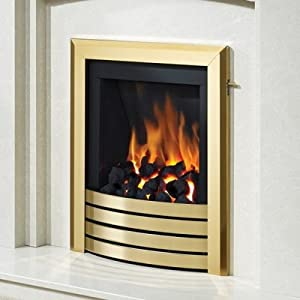 Be Modern Alcazar Slimline Inset Gas Fire Slide Control Brass Design Trim