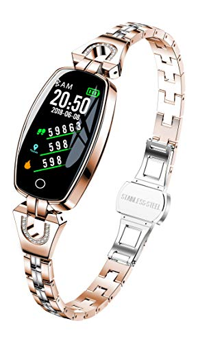 DANUO Fitness Tracker, Activity Tracker with Heart Rate Monitor, Pedometer Watch with Sleep Monitor, Step Calorie Counter, IP68 Waterproof Smart Bracelet for Women and Men (Rose Gold)