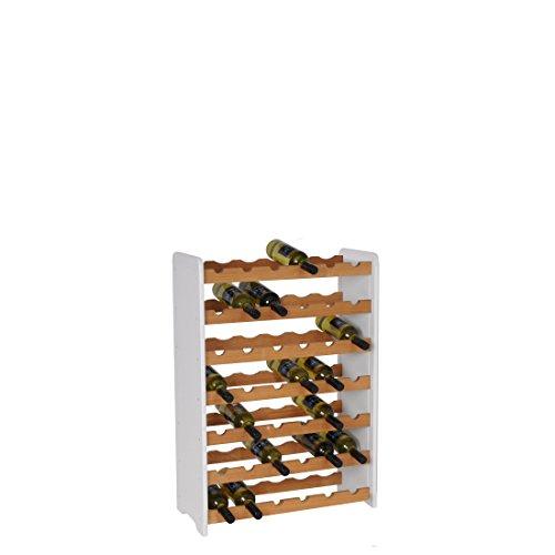 Weinregal/Flaschenregal System OPTIPLUS PREMIUM Modell 1, Holzverbundstoff, weiß, für 42 Flaschen - H 94 x B 63 x T 26,5 cm