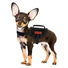 """🐶SIZE INFO: Neck Girth: 8""""-13""""/20cm-33cm;Chest Girth: 12""""-18""""/30cm-46cm;Back Length: 7""""/18cm;Weight: 6.17oz/175g 🐾EASY ON/OFF: A small tactical dog harness with quick release buckles for easy on and off without compromising security; your quality sma..."""