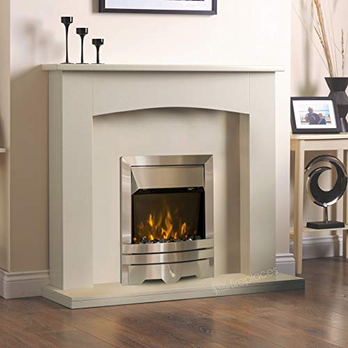 """Electric Cream Ivory Silver Flame Fire Modern Wall Surround LED Fireplace Suite 48"""""""