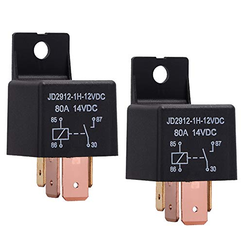 EHDIS 4-Pin Relay 12V 80A Automotive Car Relay On/Off Normally Open Car Truck Boat SPST Relays High Power Model JD2912-1H-12VDC 80A 14VDC [2 Pack]