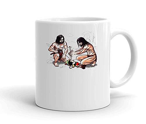 IDcommerce Ancient People Making Fire with Pinocchio Nose Weißer Keramik-Becher für Tee und Kaffee