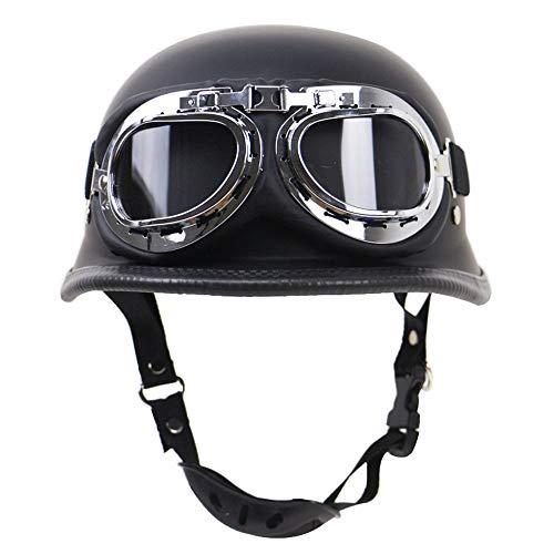Vintage Open Face Demi Casque, Casque Harley, tête de Cerveau Bobber Demi-coquilles Jet Casque Dot certifié Moto Scooter Casque avec Lunettes de Pilotage Noir,XL(61~62cm)