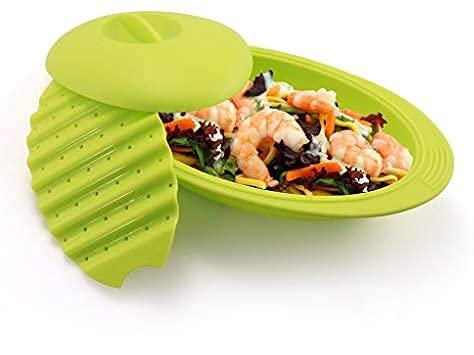 Estuche de vapor de silicona para microondas u horno de 28 cm | Papillote de cocina verde | Franquihogar