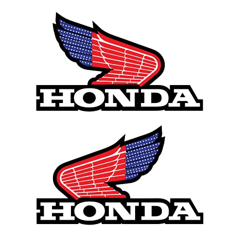 New Honda American Flag Sticker Bike Wings (SET OF 2) Left & Right Retro Vintage Vinyl Sticker Decal (Width: 5 Inches, Height: 3.3 Inches Each). Perfect stickers for Motorcycles, Dirt Bikes, Motorbikes, bikers, and any Motorbike enthusiast. Motorcycle accessories Dirt Bike accessories Car accessories Honda accessories stickers for biker boys or girls.