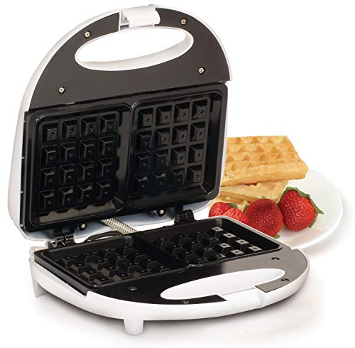 Elite Cuisine EWM-9008K Waffle Maker Iron, Makes 2 Square Waffles, White