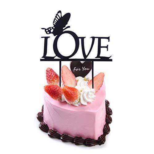 NUOBESTY 3Pcs Love Cake Topper Acrlico Cupcake Topper Picks con Mariposa para El Da de San Valentn Boda Fiesta de Cumpleaos DIY Hornear Postre Decoracin