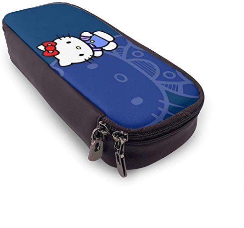 Estuche para lápices Hello Kitty Time de gran capacidad, bolsa de maquillaje, bolsa de papelería con doble cremallera para la escuela/oficina